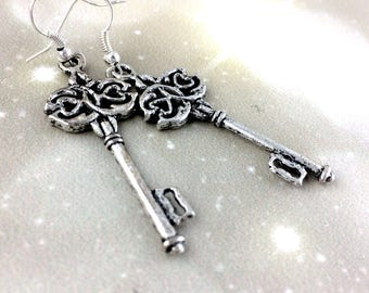 Large Silver Key Earrings - Realtor Gift - Stocking Stuffer For Women - Housewarming Gift For Her - Sterling Silver Jewelry Closing Gift