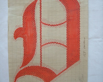 Letter Q Original 19th Century Handpainted Textile Design Monogram Initial Antique Print French Gift for Paper Anniversary Gifts for Couple