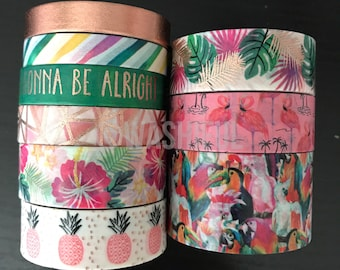 """18""""/24"""" SAMPLES of Ms Sparkle & Co pink tropical washi tape (M214)"""