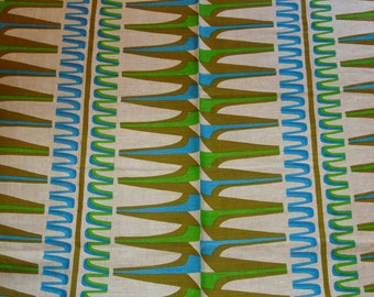 Vintage 1960's Danish Modern Turquoise Lime Olive Linen Geometric Printed Tablecloth