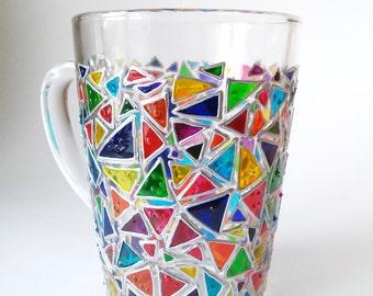 Mosaic Coffee mug  glass mug  Sun catcher mugs Triangle mug Hand painted coffee mugs