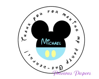 20 Personalized Baby blue Mickey Mouse first Birthday Stickers