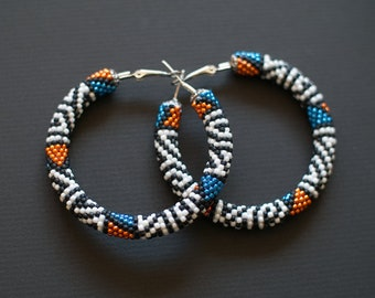 Beaded Hoop Earrings, Black and White Earrings, Big Hoop Earrings, Colorful Beadwork Earrings, Geometric Earrings, Big Hoop Beaded Earrings
