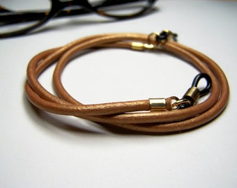 Copper Leather Eyeglass Cord, Custom Length 24-36 Inches, Chain for Glasses, Eyeglass Chain Made of Leather