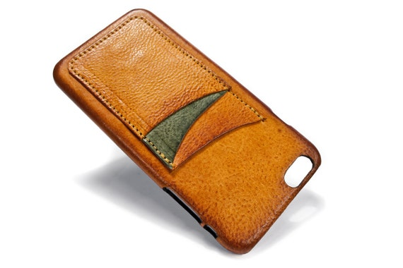 "iPhone 6 PLUS 5.5"" leather credit card case (choose # of slots and Accent) col BRANDY"