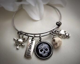 Skull Bangle Bracelet, Fearless Bangle Bracelet