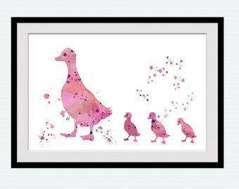 Pink duck watercolor print Mallard duck poster Animal decor Home decoration Kids room art poster Nursery room decor Gift art in pink W572