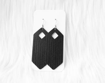 Black Fringe Leather Drop Earrings, fringe earrings, leather earrings, leather fringe, the leather drop, black fringe