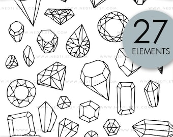 Diamond and Gemstone Doodle Clip Art, Jewelry Clipart, Diamonds, Gemstones, Lineart, Hand drawn, PNG, Great for Planner Stickers
