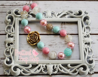 Pink and Gold Chunky Necklace, Pink, Aqua and Gold, Chunky Necklace, Cake Smash Prop, Photo Prop, First Birthday