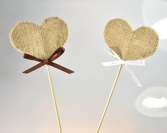 6 pcs/set Burlap Heart on a Long Stick Cake Topper Party Birthday Wedding Supplies Wedding Decoration