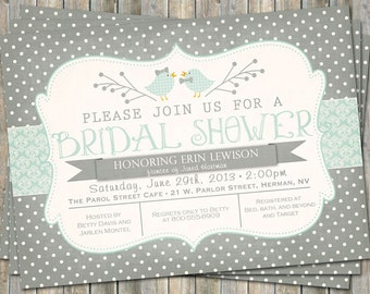 Vintage inspired gray and green, Bridal Shower invitation with birds, printable, digital file