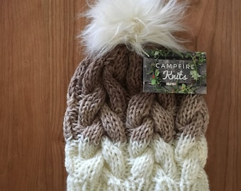 Hot Cocoa Braided Cable Beanie