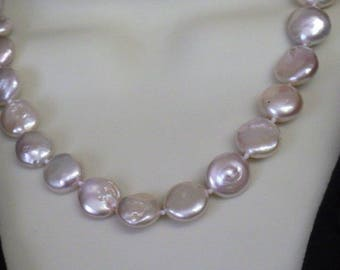 Very Pretty Silver Plated Natural Coin Freshwater Pearl Necklace