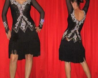Black Latin Fringe Dress with Long Sleeve and Fringe Skirt