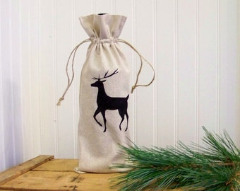 free shipping - reindeer wine gift bag / christmas wine bag / wine tote / silhouette / hostess gift / christmas gift / custom wine bag