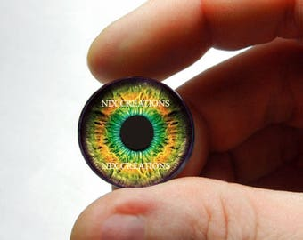 Glass Eyes - Orange / Green / BlueHuman Doll Taxidermy Eyes Handmade Glass Cabochons  - Pair or Single - You Choose Size