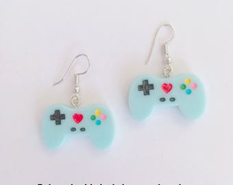 Game controllers earrings blue