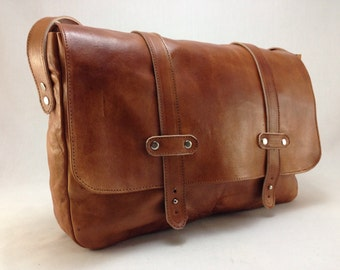 Handmade Leather Laptop Briefcase - Messenger Bag