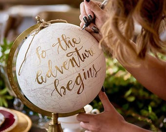 Custom Calligraphy Globe / Your  Wording / White and Gold Globe / Washed Available / Custom Options / Wedding Guest Book/Nursery Globes