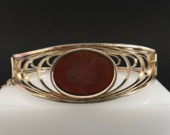 Simmons Art Deco Cuff, Vintage Jewelry, Art Deco Jewelry, Carved Intaglio Roman Art Deco Bracelet, Gold Filled Hinged Cuff Simmons Jewelry