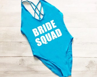 Bride squad- crossback aqua-Lined Bathing suit, swim suit, one piece bridesmaid gift