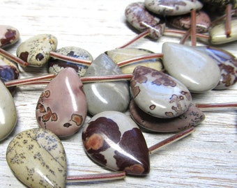 Jasper Beads 25 x 18mm Variety Jasper Smooth Teardrop Pendants  - 8 Mis-matched Pieces