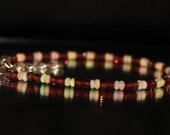 Garnet Bracelet Sterling Silver, January Birthstone Bracelet, Mozambique Garnet & Opal, Garnet Bead Bracelet, Garnet With Opal 0025