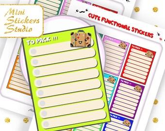 Full Box Packing List Cute files Printable Holiday Vacation Happy Planner Filofax Erin Condren Kawaii Kikki K Accessories Silhouette