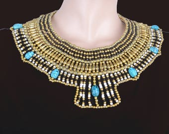 Pretty Ancient Egyptian Beaded Cleopatra 7 Scarabs Necklace Collar