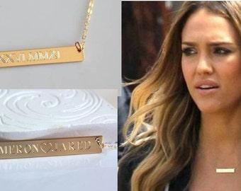 WEDDING DATE Gold bar Necklace - Bridesmaid Engraved Nameplate - Engravable Bar Necklace - Name necklace - Monogram Silver
