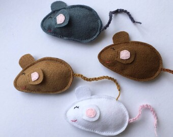 Felt Mouse cat toys, cat gifts, stocking stuffers, fun toys, kid toys