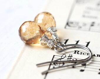 Mystic Yellow Quartz Earrings, Fall or Summer Wedding Bridesmaids Jewelry - Honey Droplets