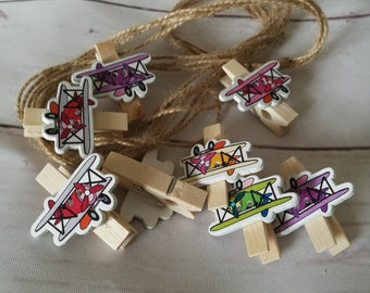 Photo pegs - picture pegs with string ~ aeroplanes ~ teenager ~ kids bedroom ~ playroom ~ art area