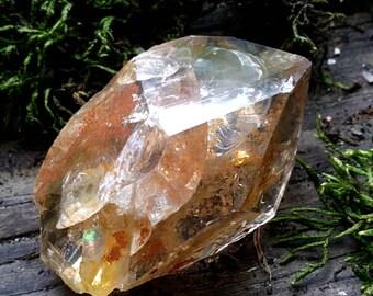 Golden healer Large herkimer quartz crystal golden healer herkimer diamond crystal yellow herkimer crystal golden herkimer with rainbow H5