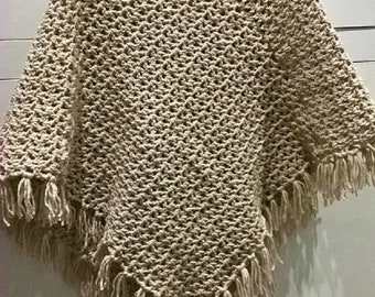 Brand new hand crochet fringed ladies poncho biscuit/oatmeal colour