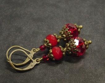 Vintage style red bronze earrings