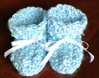 Crochet Baby Booties Light Blue