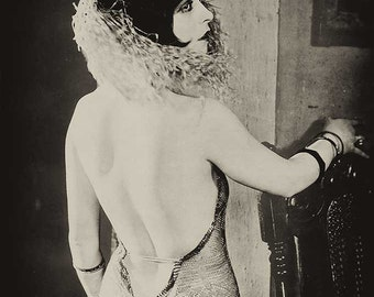 Clara Bow vintage photo print poster antique photograph girl woman with mask 1920s flapper Art Deco