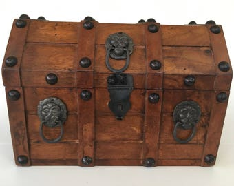 Vintage Wooden Pirate's Chest