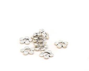 past 10-Ribbon silver metal flowers