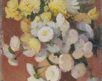 Ukrainian Artist Kondratyuk V.I. Still Life. Flowers. Oil Painting on cardboard. Ukrainian Art. Size 50 x 35 cm. (4045).