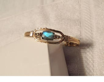 Gold filled wire wrapped labradorite irridecent bracelet One of a Kind, OOAK