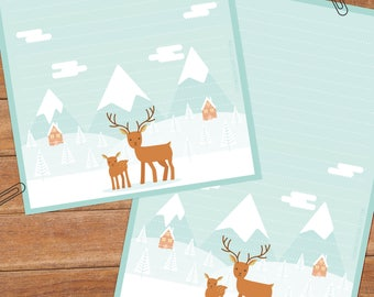 Winter deer - DOWNLOAD file - Printable Writing paper - A5 size