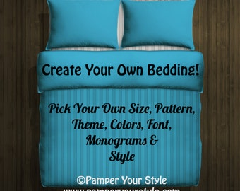 Design my own bedding - Twin - Queen - King Custom Duvet Bedding - Monogram Bedding - Create My Own Bedding