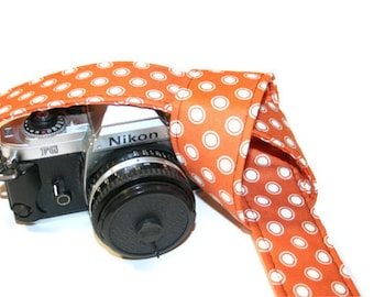 Camera Strap - Orange with White Dots - SLR, DSLR