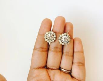 Vintage Coro Rhinestone Flower Screw Back Earrings/Coro Rhinestone Earrings/Bridal Jewelry/Wedding Earrings/Vintage Wedding/Coro Earrings