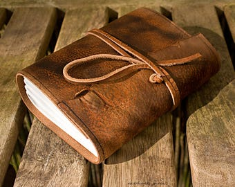 A6, Standard, Distressed Leather Journal, Leather Wraparound Journal, Travel Journal, Tan, Brown Leather, Wrap Notebook, Blank Book, Rustic.