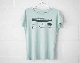 Women's Small Canoe Paddle Tee, Forest Green on Light Jade