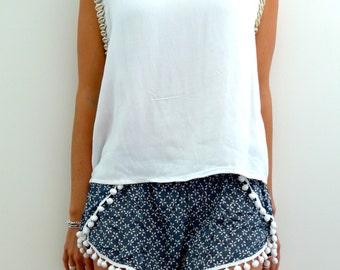 Pom Pom Shorts - Navy & White Daisy Print with White Pom Pom Trim - lightweight chiffon